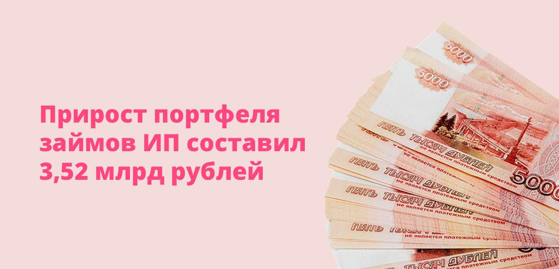 Прирост портфеля займов ИП составил 3,52 млрд рублей