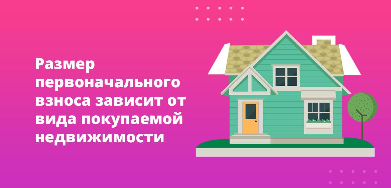 Размер первоначального взноса зависит от вида покупаемой недвижимости