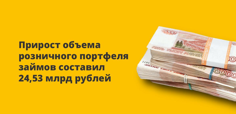Прирост объема розничного портфеля займов составил 24,53 млрд рублей