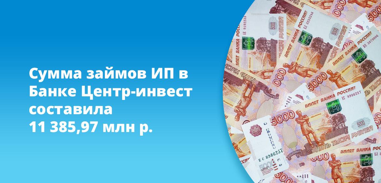 Сумма займов ИП в Банке Центр-инвест составила 11 385,97 млн рублей