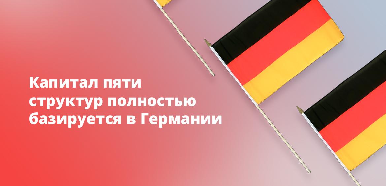 Капитал пяти структур полностью базируется в Германии