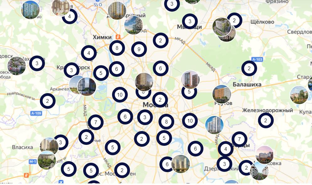 карта новостроек банка зенит