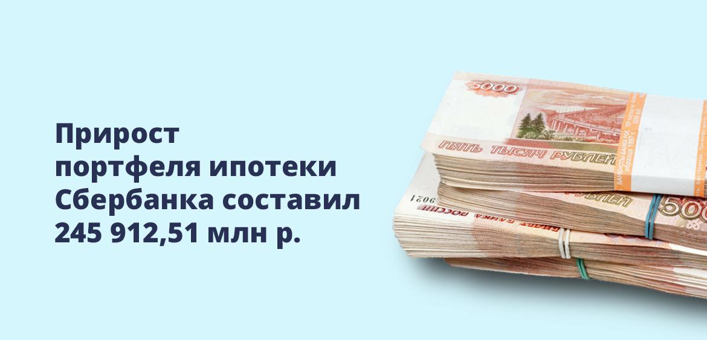 Прирост портфеля ипотеки Сбербанка составил 245 912,51 млн рублей