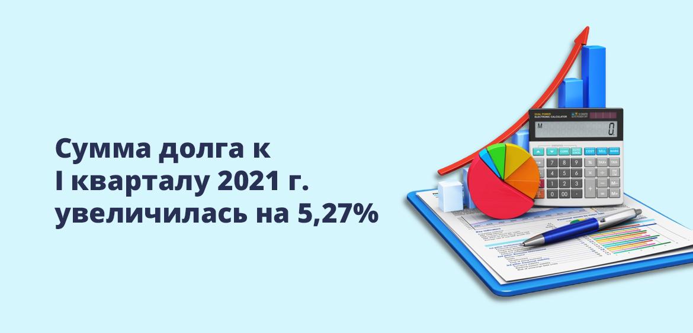 Сумма долга к I кварталу 2021 г. увеличилась на 5,27%