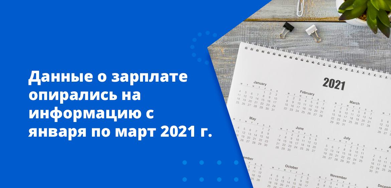 Данные о зарплате опирались на информацию с января по март 2021 года