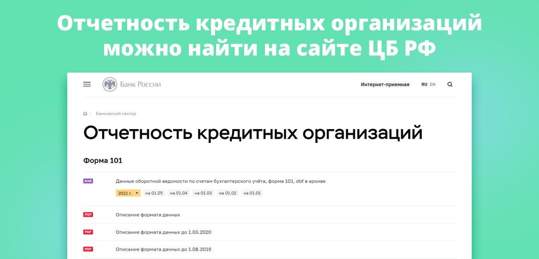 Отчетность кредитных организаций можно найти на сайте ЦБ РФ