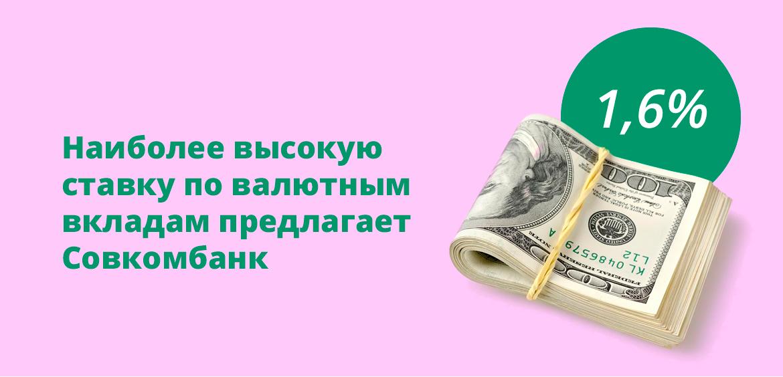 Наиболее высокую ставку по валютным вкладам предлагает Совкомбанк
