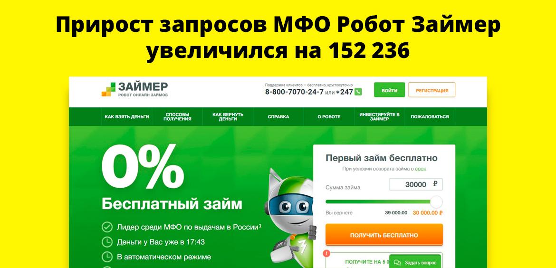 Прирост запросов МФО Робот Займер увеличился на 152 236