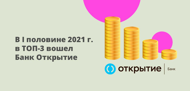 В первой половине 2021 года в ТОП-3 вошел Банк Открытие