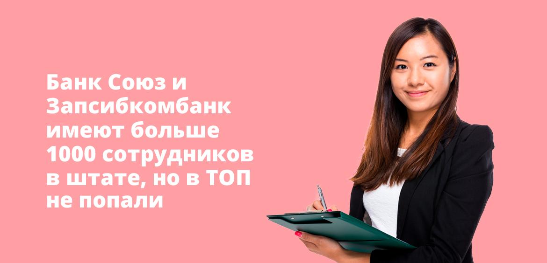 Банк Союз и Запсибкомбанк имеют больше 1000 сотрудников в штате, но в ТОП не попали