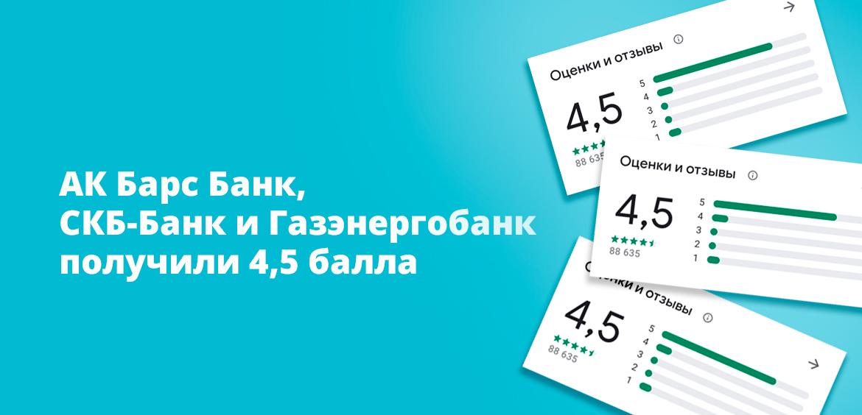 Ак Барс Банк, СКБ-Банк и Газэнергобанк получили 4,5 балла