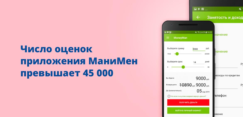 Число оценок приложения МаниМен превышает 45 000