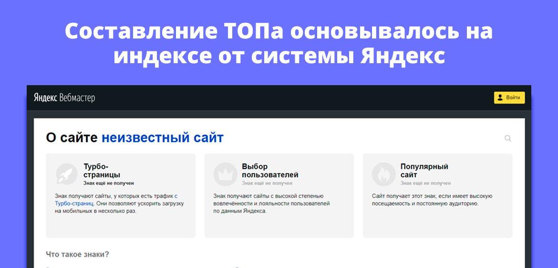 Составление ТОПа основывалось на индексе от системы Яндекс