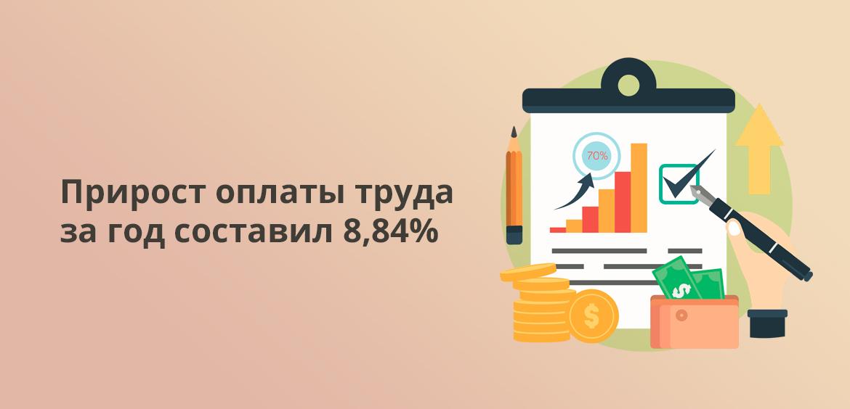 Прирост оплаты труда за год составил 8,84%