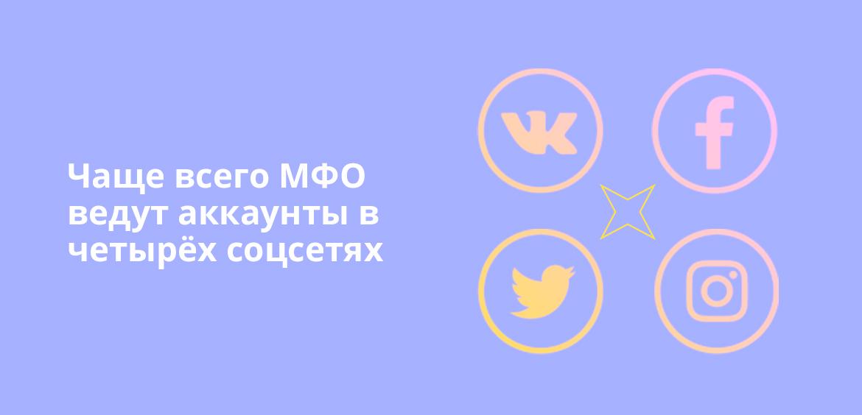Чаще всего МФО ведут аккаунты в четырех соцсетях